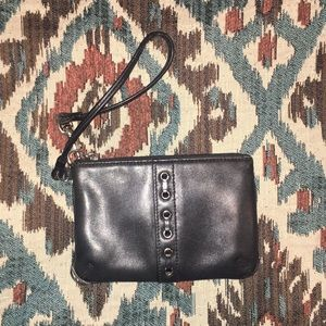 Authentic Coach Leather Wristlet- Black